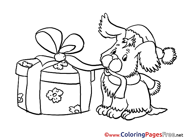 Dog with Present Coloring Pages New Year