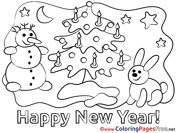 Eve New Year Coloring Pages download