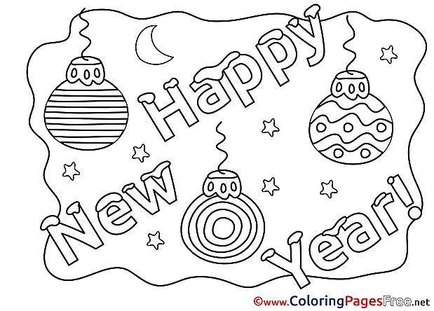 Happy New Year Children  Colouring Page