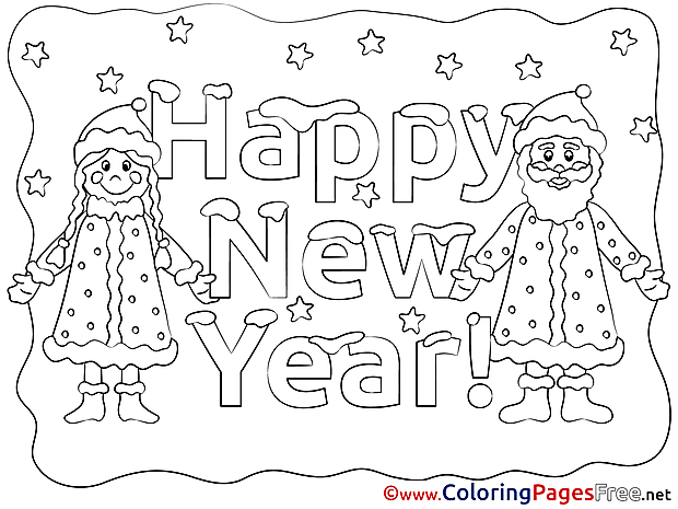 Happy New Year Coloring Pages free