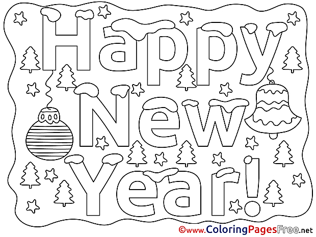 Happy New Year free Colouring Page
