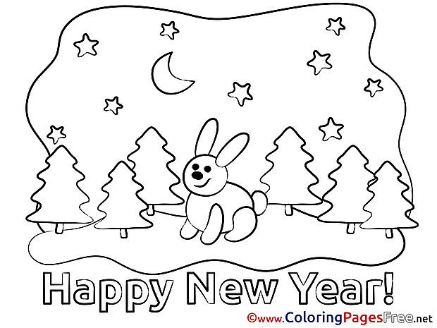 Hare Colouring Page Forest New Year free