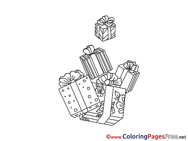 Present free New Year Coloring Sheets