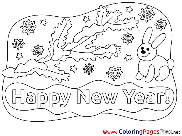 Rabbit New Year Colouring Sheet free