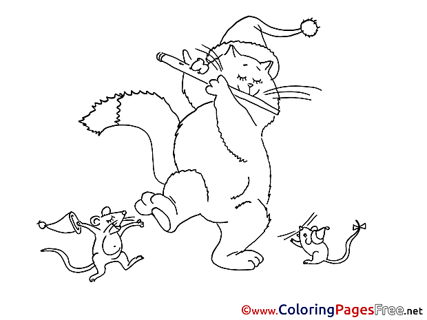 Rat free Colouring Page Cat New Year