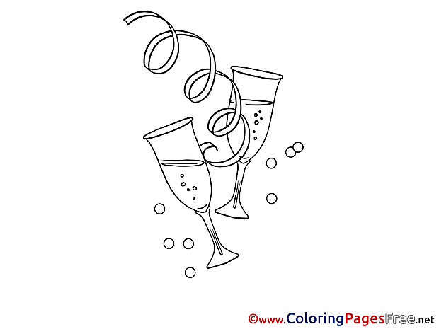 Shampagne New Year Colouring Sheet free