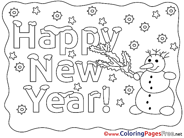 Snowman Coloring Sheets New Year free