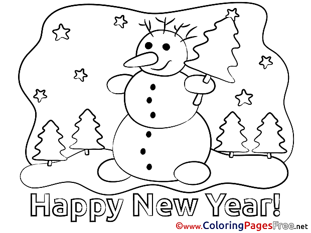 Snowman Kids New Year Coloring Pages