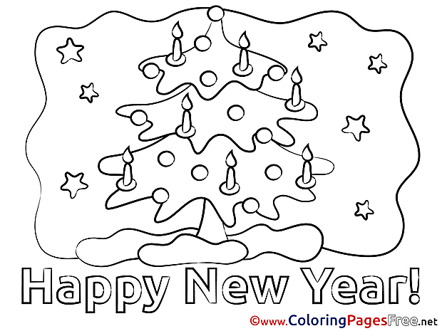 Tree printable New Year Candles Coloring Sheets