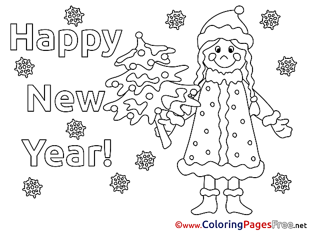 Woman Coloring Pages Snow New Year