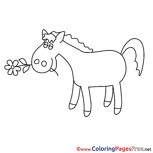 Flowers Horse Kids free Coloring Page