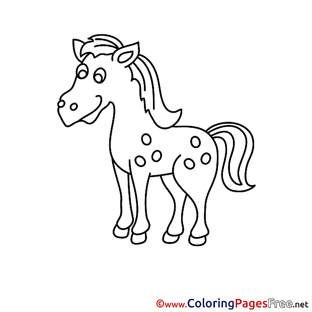 Happy Horse for Kids printable Colouring Page