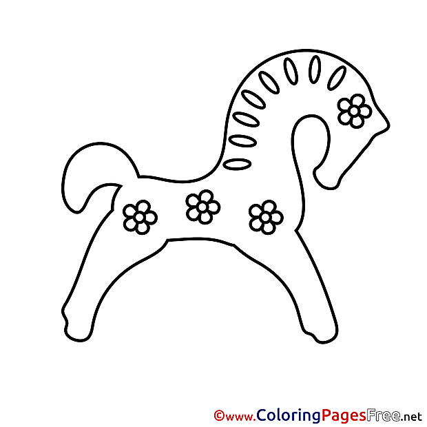 Toy Horse Colouring Page printable free