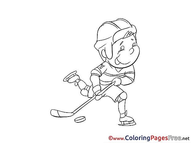 Boy Ice Hockey free Colouring Page download