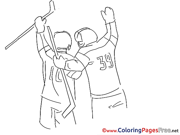 Friends Ice Hockey printable Coloring Pages for free