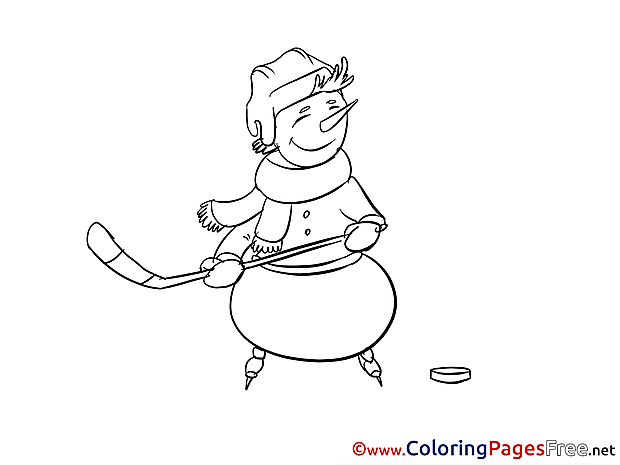 Snowman Ice Hockey Kids download Coloring Pages