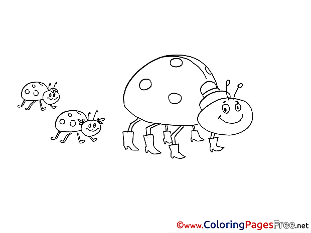 Family Bugs Kids free Coloring Page