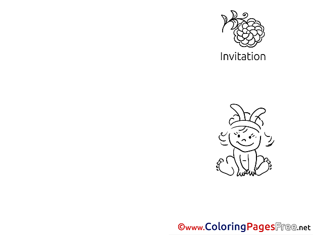 Baby download Invitation Coloring Pages