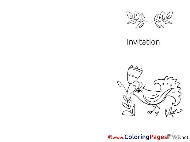 Bird Flowers Children Invitation Colouring Page