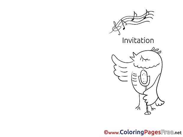 Bird singing Colouring Page Invitation free