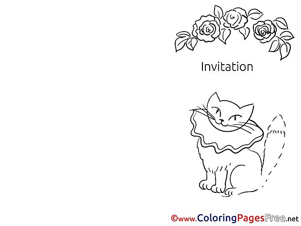 Cat Invitation Colouring Sheet free Roses