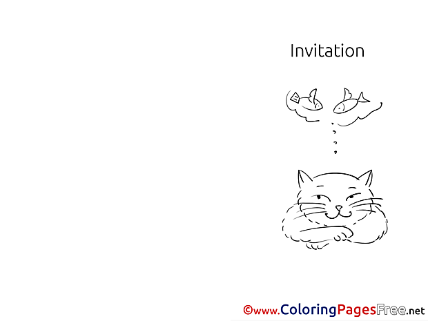 Fishes free Colouring Page Cat Invitation