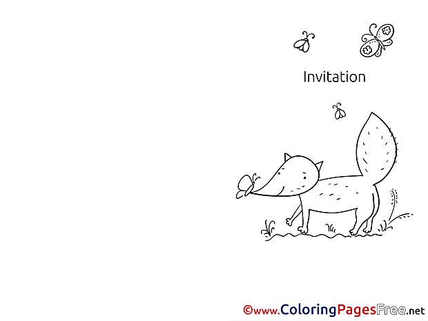 Fox printable Invitation Coloring Sheets