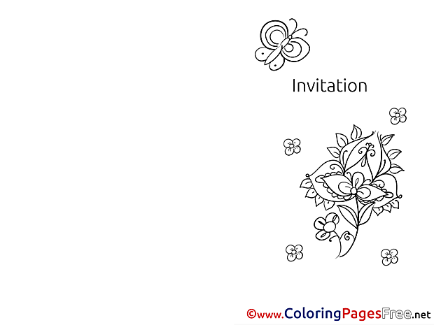 Invitation Flowers Coloring Pages