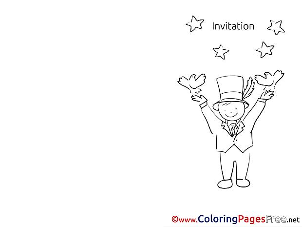 Magician free Invitation Coloring Sheets