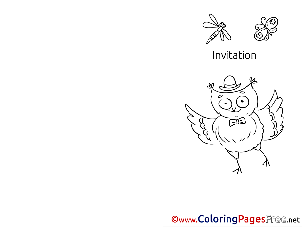 Owl Coloring Pages Invitation