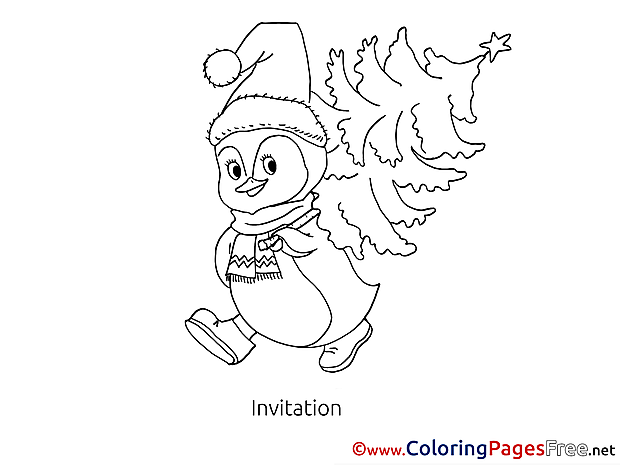 Penguin Invitation free Tree Coloring Pages