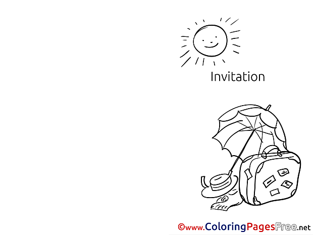 Vacation printable Coloring Pages Invitation