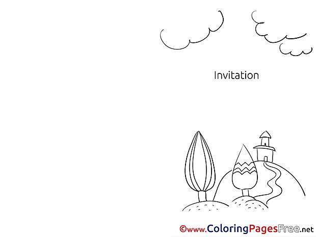 Village Coloring Sheets Invitation free