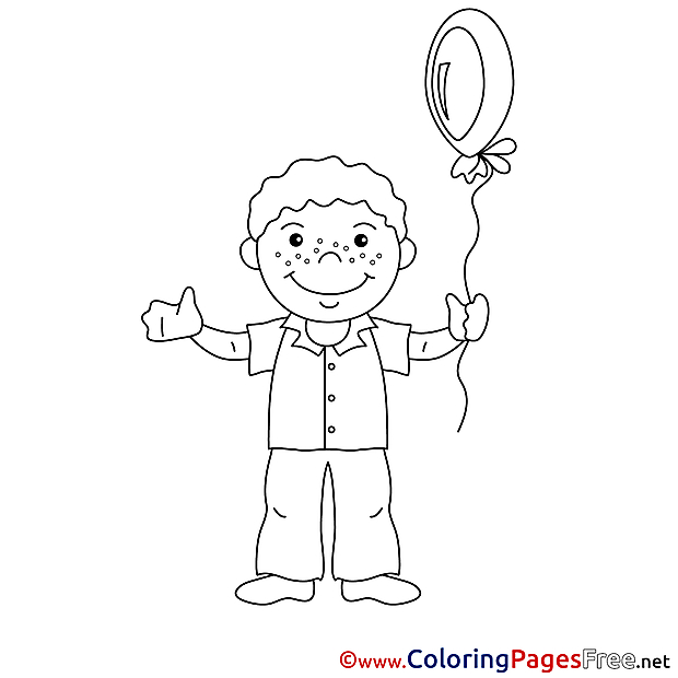 Balloon Boy free Colouring Page download
