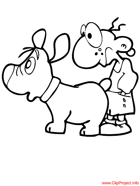 Boy and dog cartoon image for coloring