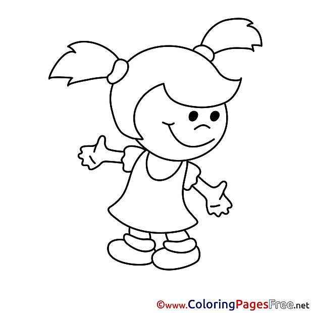Girl Kids free Coloring Page