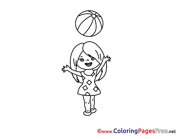 Ball download printable Girl Coloring Pages