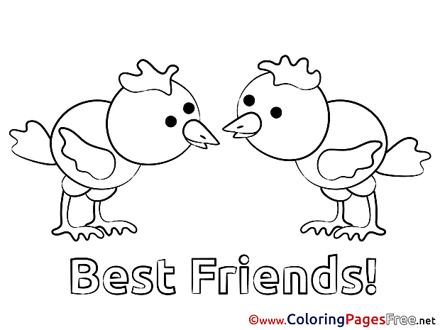 Chickens free printable Coloring Sheets Friends