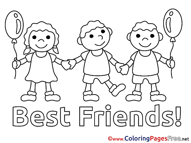 Children Coloring Pages free Friends