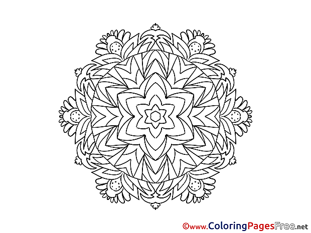 For Kids Mandala Colouring Page