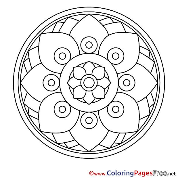 Illustration Kids Mandala Coloring Page
