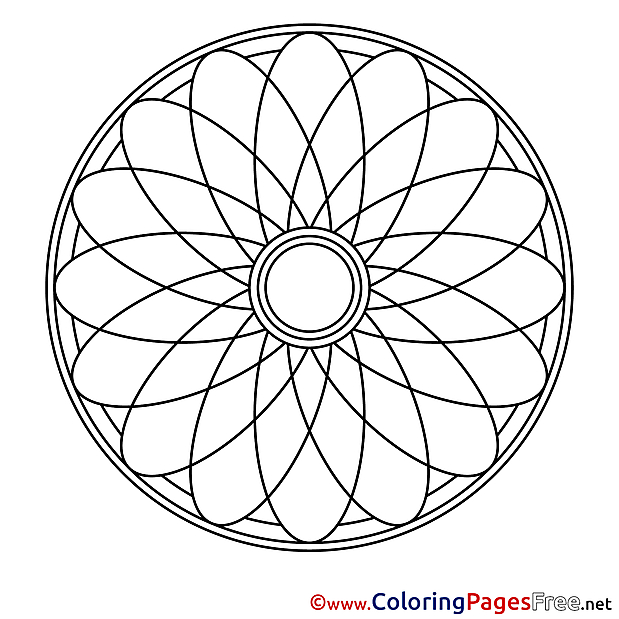 Symbol Children Mandala Colouring Page
