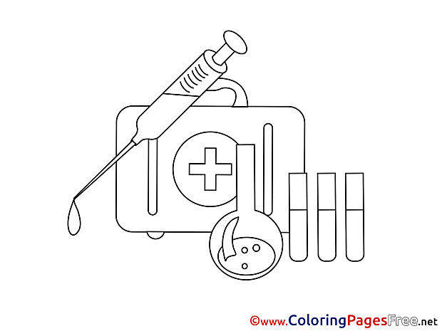 Kit Medicine Children Coloring Pages free