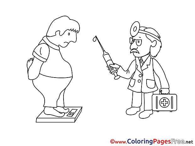 Overweight Doctor Coloring Pages for free