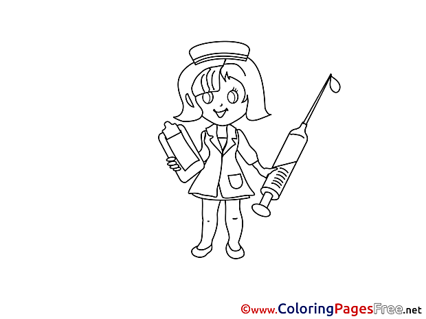 Syringe Nurse Children download Colouring Page
