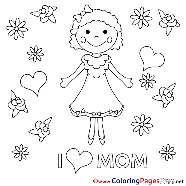 Daughter Felicitation free Mother's Day Coloring Sheets