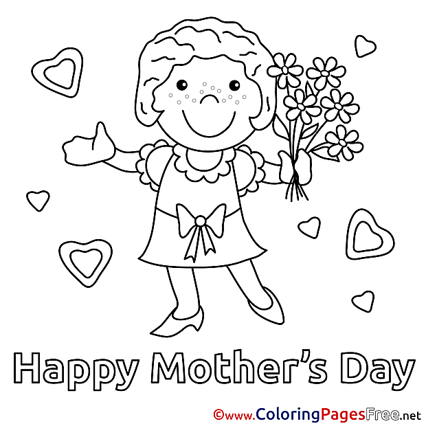 Girl  Felicitation free Mother's Day Coloring Sheets