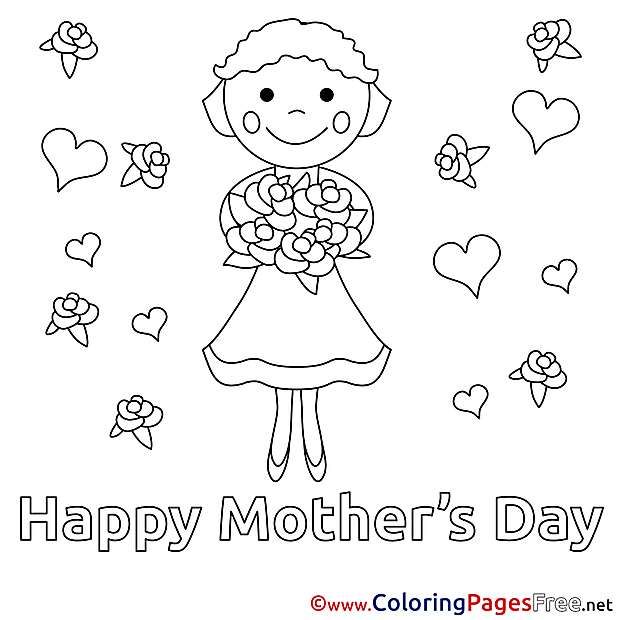 Girl Gift Flowers printable Coloring Pages Mother's Day