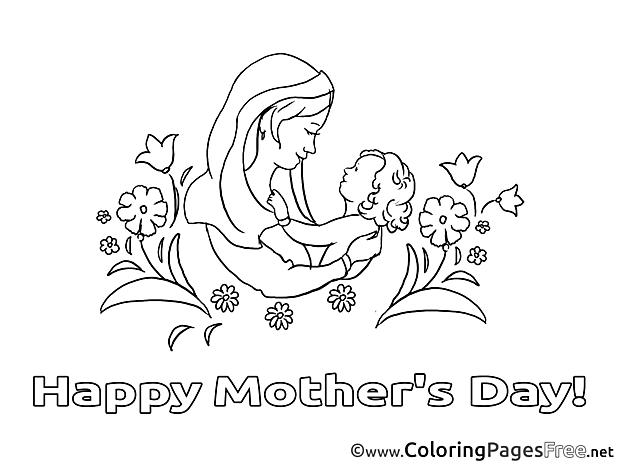 Infant Colouring Page Mother's Day free