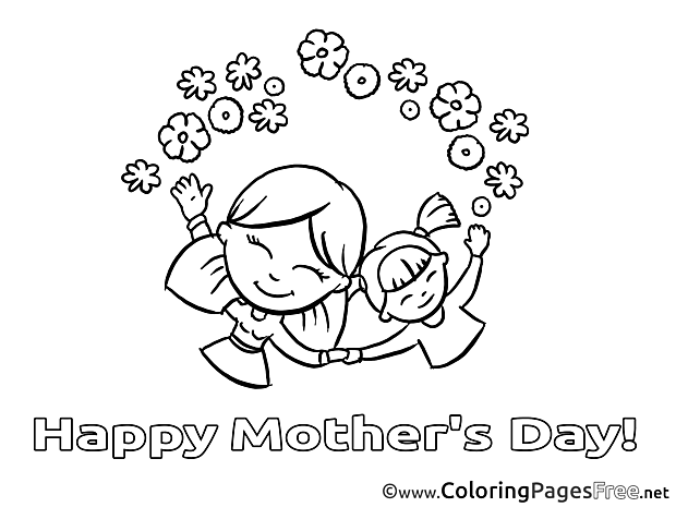 Kids Flowers Mother's Day Colouring Page